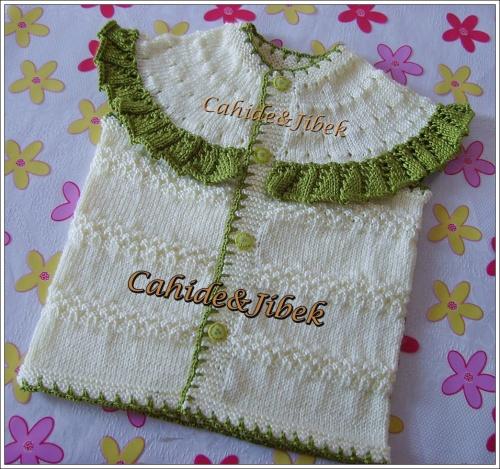 Yeşil/Beyaz bebek yeleği